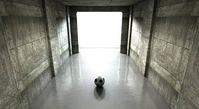 Sports Digital Art - Soccer Ball Sports Stadium Tunnel by Allan Swart