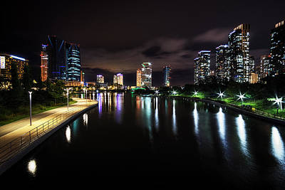 Songdo Canal Night Reflection Print by Aaron Choi