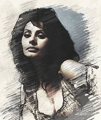 Musicians Digital Art Rights Managed Images - Sophia Loren, Vintage Actress Royalty-Free Image by Esoterica Art Agency