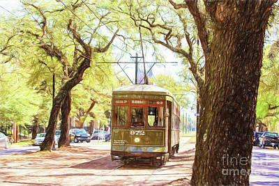 St. Charles Streetcar Art Print by Scott Pellegrin