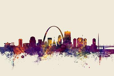 St Louis Missouri Skyline Print by Michael Tompsett