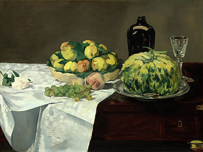 Painting - Still Life With Melon And Peaches by Edouard Manet