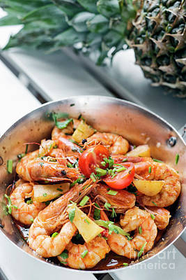 Terry Oneill - Stir Fry Prawns In Spicy Asian Pineapple And Herbs Sauce by JM Travel Photography