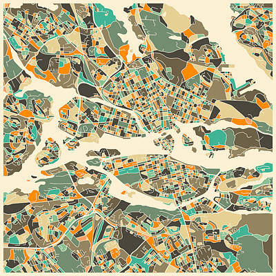 Abstract Map Digital Art - Stockholm Map by Jazzberry Blue