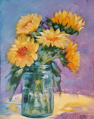 Painting - 5 Sunflowers by Judy Fischer Walton