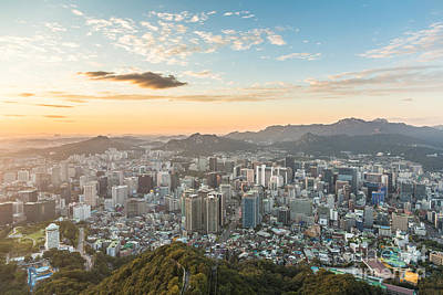 Sunset Over Seoul Art Print