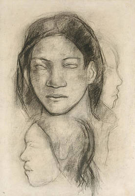 Drawing - Tahitian Faces  by Paul Gauguin