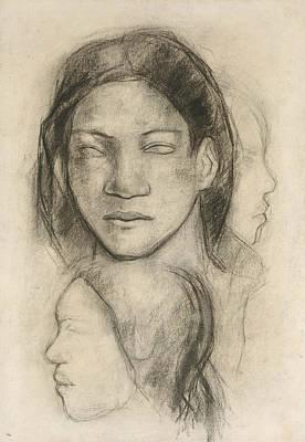 Drawing - Tahitian Faces  by Paul Gauguin