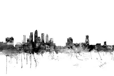 Watercolour Photograph - Tampa Florida Skyline by Michael Tompsett