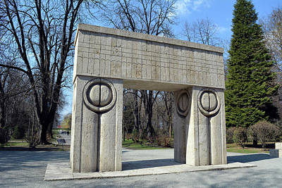 Targu Jiu, Romania  March 15 2017  Gate Of The Kiss. Translation Poarta Sarutului It Is A Stone Scul Art Print