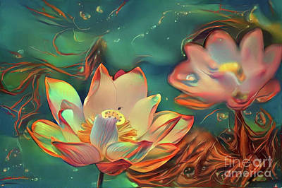 Tropical Digital Art - Teal And Peach Waterlilies by Amy Cicconi