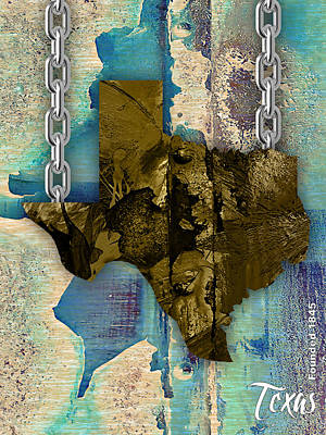 Mixed Media - Texas State Map Collection by Marvin Blaine