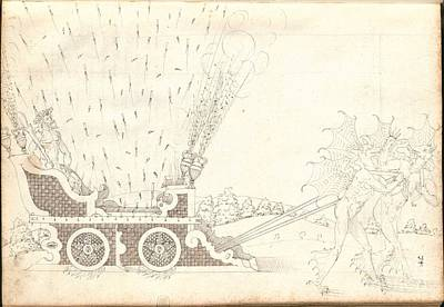 Fireworks Painting - The Artillery Drawing by MotionAge Designs