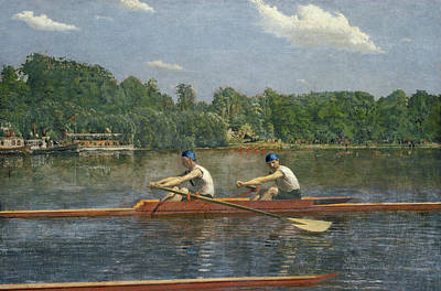 Row Painting - The Biglin Brothers Racing by Thomas Eakins