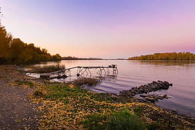 The Dnieper River At Dusk In Autumn Art Print by Alain De Maximy