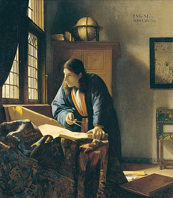 Interior Still Life Painting - The Geographer by Johannes Vermeer