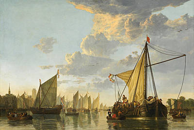 Urban Scenery Painting - The Maas At Dordrecht by Aelbert Cuyp