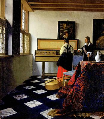 Johannes Vermeer Wall Art - Painting - The Music Lesson by Johannes Vermeer