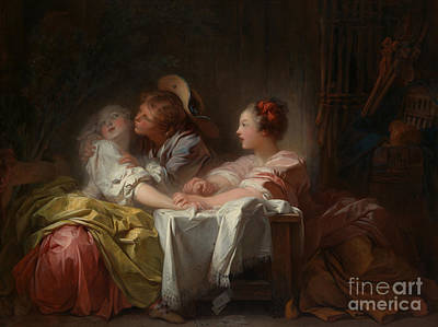 Painting - The Stolen Kiss by Jean Honore Fragonard
