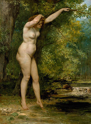 Nudist Painting - The Young Bather by Gustave Courbet