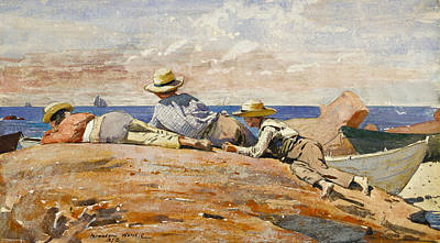 Winslow Homer Drawing - Three Boys On The Shore by Winslow Homer