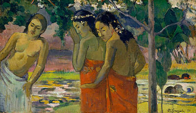 Painting - Three Tahitian Women by Paul Gauguin