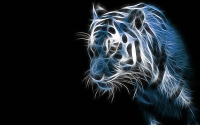 Fractal Digital Art - Tiger by Maye Loeser
