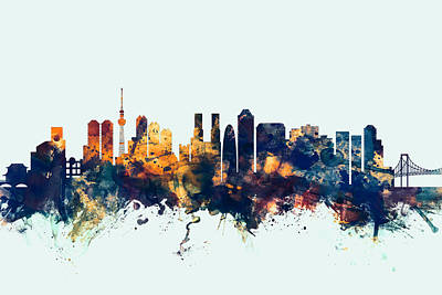 Tokyo Skyline Digital Art - Tokyo Japan Skyline by Michael Tompsett