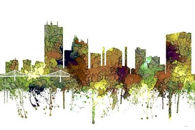 Digital Art - Toledo Ohio Skyline by Marlene Watson