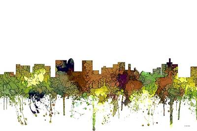 Digital Art - Topeka Kansas Skyline by Marlene Watson