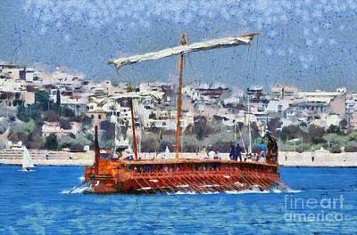 Painting - Trireme Olympias Underway by George Atsametakis
