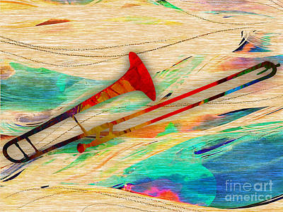 Trombone Mixed Media - Trombone Collection by Marvin Blaine