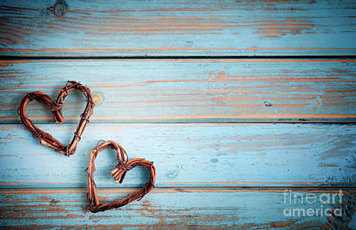 Photograph - Two Hearts On Wooden Background by Kati Finell