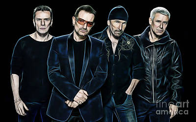 Rock Stars Mixed Media - U2 Collection by Marvin Blaine