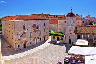 Photograph - Unesco Town Of Trogir Main Square Panoramic View  by Brch Photography
