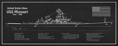 Digital Art - Uss Missouri Ship Plans by Jose Elias - Sofia Pereira