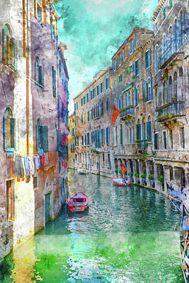 Old Town Digital Art - Venice Italy by Brandon Bourdages