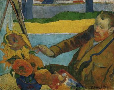 Famous Painters Painting - Vincent Van Gogh Painting Sunflowers  by Paul Gauguin