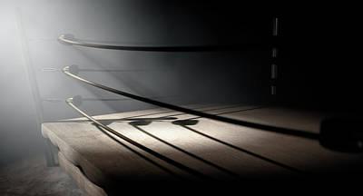 Boxing Digital Art - Vintage Boxing Ring Spotlit Corner by Allan Swart