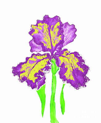 Painting - Violet-yellow Iris, Painting by Irina Afonskaya