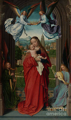 Jesus Art Painting - Virgin And Child With Four Angels by Gerard David