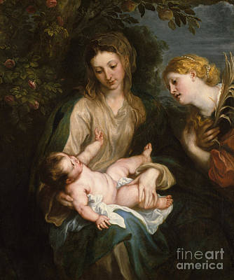 Jesus Art Painting - Virgin And Child With Saint Catherine Of Alexandria by Anthony Van Dyck