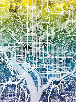 Cities Digital Art - Washington Dc Street Map by Michael Tompsett