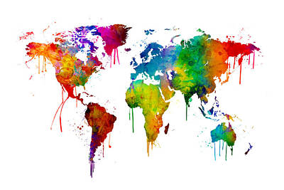 Bright Digital Art - Watercolor Map Of The World Map by Michael Tompsett