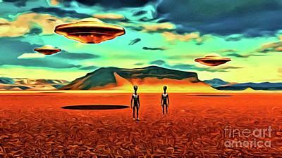 Monster Ufo Wall Art - Digital Art - We Come In Peace by Raphael Terra