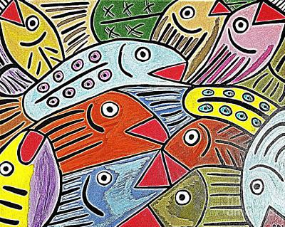 Whimsical Colorful Fish Art Print by Scott D Van Osdol
