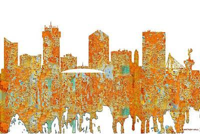Digital Art - Wichita Kansas Skyline by Marlene Watson