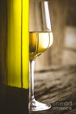 Wine On Wood Art Print by Mythja Photography
