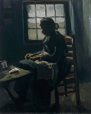 Sewing Painting - Woman Sewing by Vincent van Gogh
