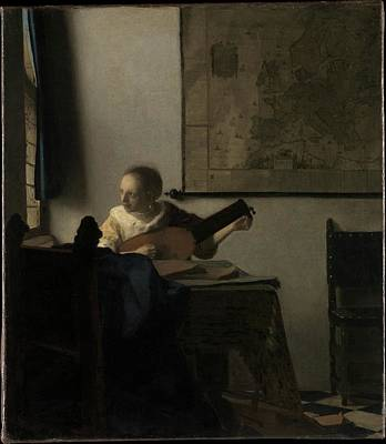 Woman Playing A Lute Painting - Woman With A Lute by MotionAge Designs